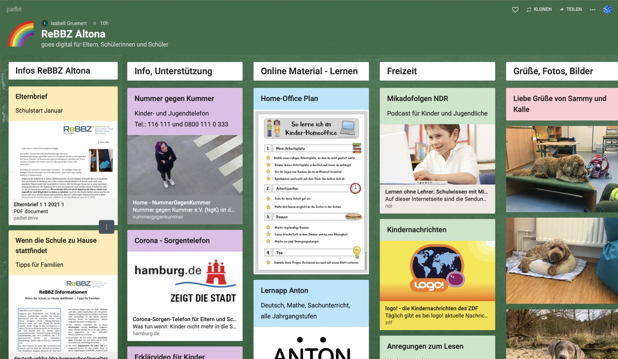 Screenshot des Padlets des ReBBZ Altona