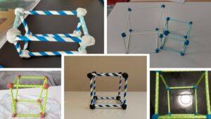 Kantenmodelle aus Strohhalmen und Knete